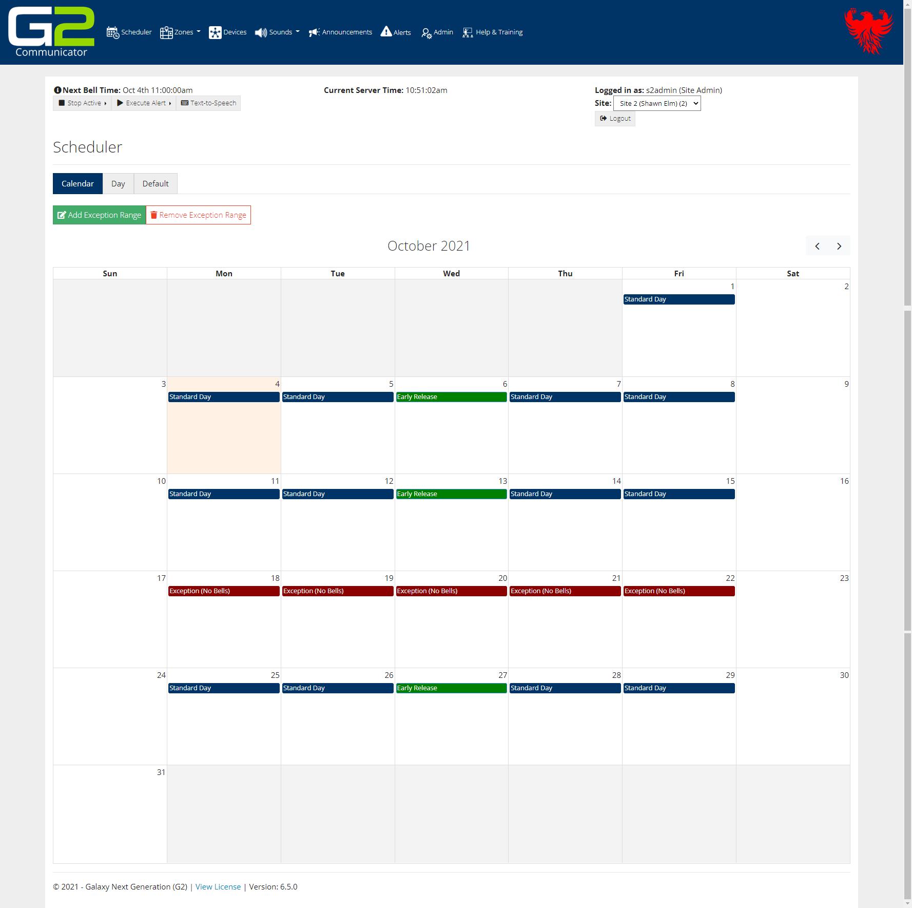 g com calendar